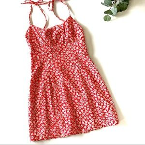 Luck & Trouble Mini Floral Dress with Tie Up Straps Suze 6 Red/White